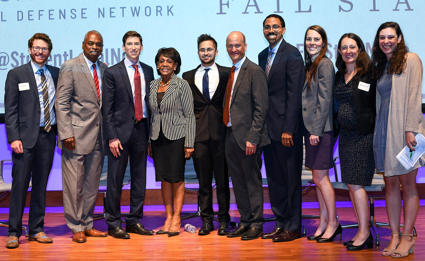 FROM LEFT TO RIGHT:  Alex Elson, Prof. Wade Henderson, Aaron Ament, Rep. Maxine Waters, Alex Shebanow, Dan Zibel, Former U.S. Sec. of Education John B. King, Jr., Robyn Bitner, Martha Fulford, Jillian Berman. (September 4, 2018, Student Defense Annual Event & Fail State DC Premier, Carnegie Institution for Science, Washington DC.)